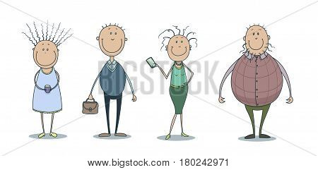 Hand drawn vector illustration set of a funny cute smiling people girlwith curly hair and with a cup of coffee, man with thin hair and with a briefcase, woman with curly hair and with a smartphone, man in a violescent waistcoat