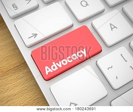 Online Service Concept: Advocacy on Modern Keyboard lying on Wood Background. Online Service Concept with White Enter Red Button on Keyboard: Advocacy. 3D Render.