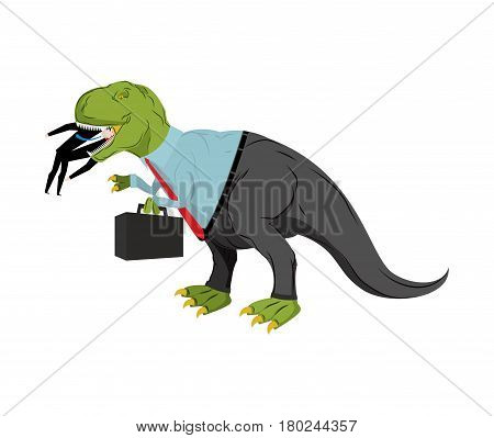 Bsinessman Dinosaur Eats Competitor. Dino Boss Eats Manager. Chief With Case Is Prehistoric Dinosaur