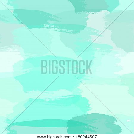 Seamless abstract pattern with transparent brush strokes in light blue turquoise green and teal blue imitating watercolor paint. Modern and stylish background gift paper fabric design wall art.