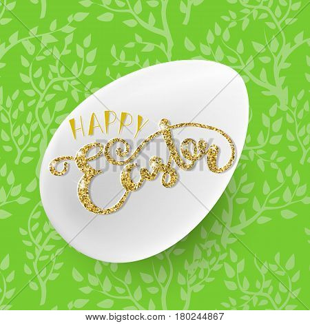 Easter seamless vector pattern with white egg. Holiday background