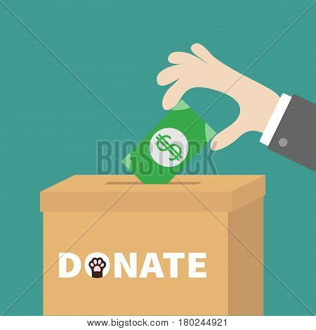 Human hand putting paper money bill with dollar sign into donation paper cardboard box. Helping hands concept. Donate and help pets animals. Dog cat paw print Flat design style Green background Vector