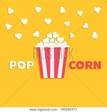 Popcorn popping. Red yellow strip box package. Fast food. Cinema movie night icon in flat design style. Yellow background with text. Vector illustration