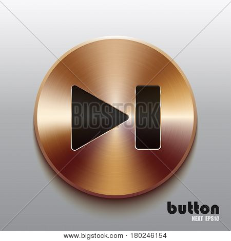 Rewind next round button with black symbol and brushed bronze texture isolated on gray background
