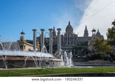 The National Palace was the main site of the 1929 International Exhibition on the hill of Montjuic in Barcelona. Since 1934 it has been home to the National Art Museum of Catalonia Spain poster