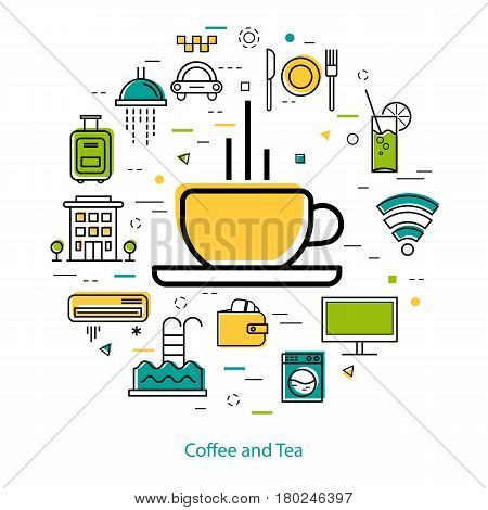 Vector round web banner of best hotel and coffee and tea cup. Modern thin line icons in colors. Pictographs of hotel service, communications, coffee, payment and room accessories