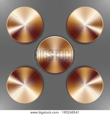 Set of round bronze disks with brushed metal textures and different angles of reflection isolated on gray background