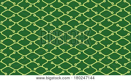 Isometric seamless electronic pattern. Net broken digital green color vector background. Rope texture with different endings of undone seamless yellow lines with circles.