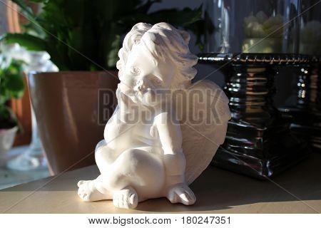 cherub statuette - white figure, beautiful decoration, art