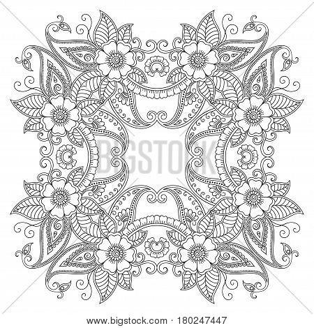 Henna tatoo mandala. Mehndi style .Decorative pattern in oriental style. Coloring book page.