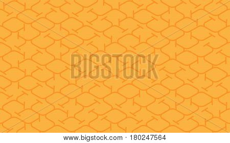 Isometric seamless pattern. Net broken digital yellow orange color vector background. Rope texture with different endings of undone seamless perpendicular lines.