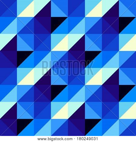 Seamless geometric pattern. Navy blue Hounds-tooth pattern in a piaxel art and lowpoly style.