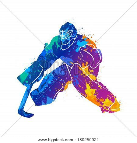 Abstract hockey goalkeeper from splash of watercolors. Vector illustration of paints.
