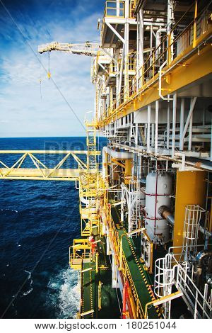 Oil and gas platform in the gulf or the sea The world energy Offshore oil and rig construction.