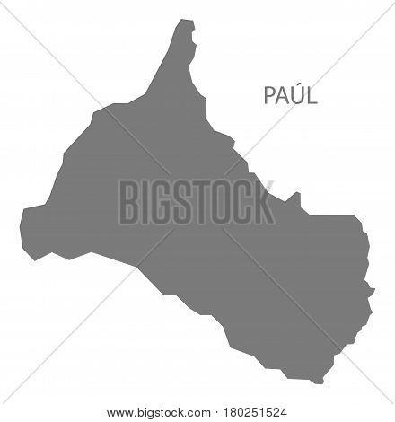 Paul Cape Verde Municipality Map Grey Illustration Silhouette