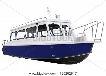 Blue passenger boat isolated on a white background.