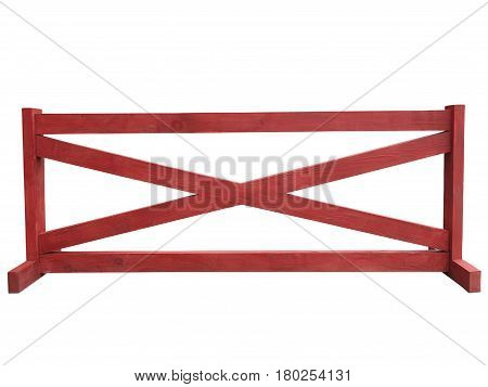 Red wooden fence at ranch isolated over white background