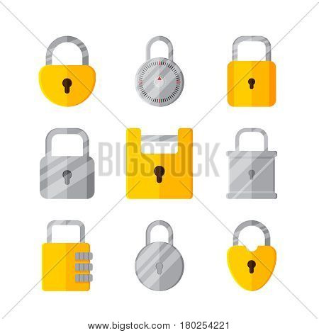 Lock on white background vector concept. Padlock illustration in modern flat style. Color picture for design web site, web banner, printed material. Lock flat icon set. Vector element