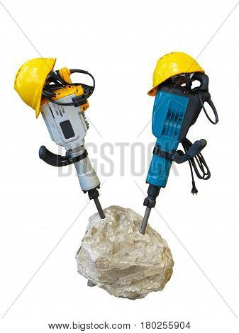 Construction Concept - Jackhammer In Concrete And Yellow Helmet Isolated Over White