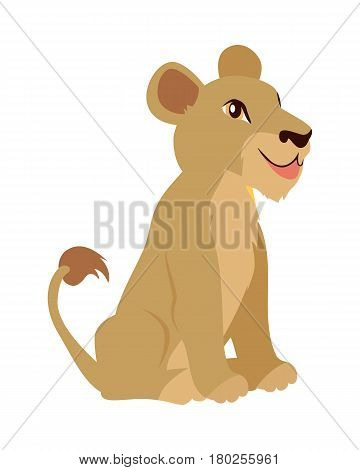 Cute lion cub cartoon character. Small lion baby flat vector isolated on white. African fauna. Smiling lion icon. Wild animal illustration for zoo ad, nature concept, children book illustrating