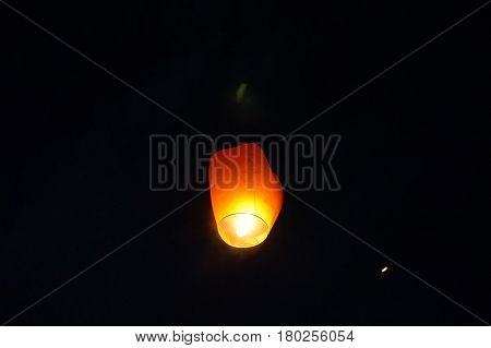 Sky Lanterns. The Sky Lanterns Are Released To The Night Sky As A Symbol Of Hope