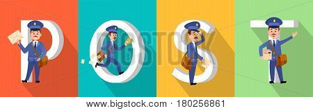 POST colourful poster with big white letters and mailman character set. Postman with envelopes, parcel hurrying and losing letters. Vertical vector pictures showing fast delivery by postmen