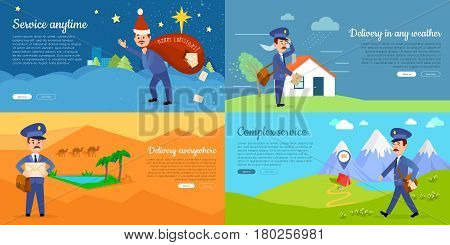 Delivery service web banners set with cartoon postman. Smiling postal courier delivers letters in stormy weather, in distant places in desert and mountains, on Christmas flat vector illustrations
