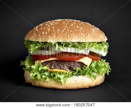 Fresh, delicious burger or cheeseburger with salad, onion rings, tomato and grilled beef. Isolated on black background. Hamburger on a black background.