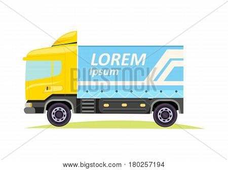 Blue and yellow large truck with emblem of firm on white background vector illustration. It is a motor vehicle designed to transport cargo. Lorry has wheels, cabin window and door, tyres semitrailer