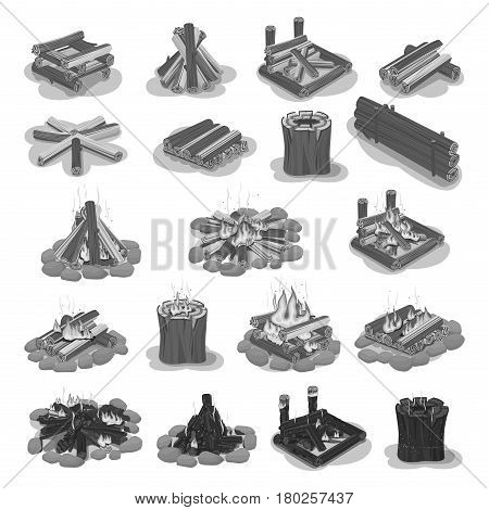 Firewood colorless set with burning and still logs put in shapes of square, round and roof. Vector poster in flat style of touristic campfire set isolated on white. Hot gathered burning wood pieces