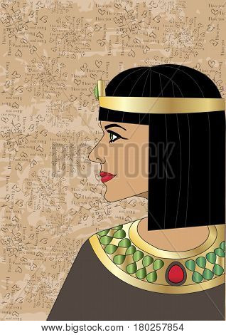 The head of the Egyptian queen Cleopatra in profile on a Egyptian papyrus background. Vector
