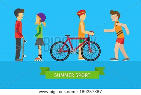Summer sport. Children on the playground. Boy skateboarder, girl rollerblading, guy near the bike and runner. Active way of life concept. People going in for sport. Sportive teenagers banner. Vector