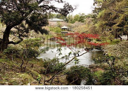 Narita San Temple garden with lake, traditional japanese garden