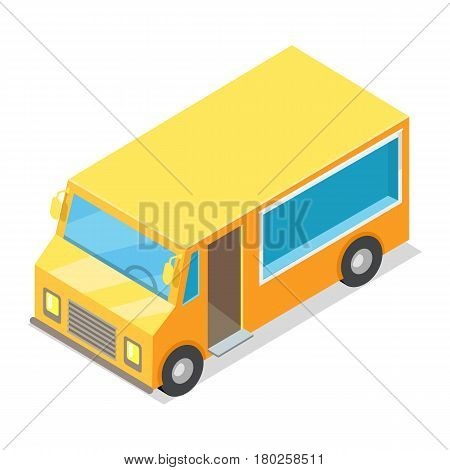 Yellow waggon for implementation of street food in cartoon style isolated on white. For convenience in meal preparation and sale is showcase and entrance door. Flat design vector illustration.