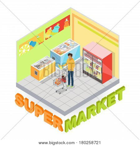 Supermarket interior with buyer in isometric projection. Customer choosing goods in grocery store trading hall vector illustration. Daily products shopping 3d concept isolated on white background