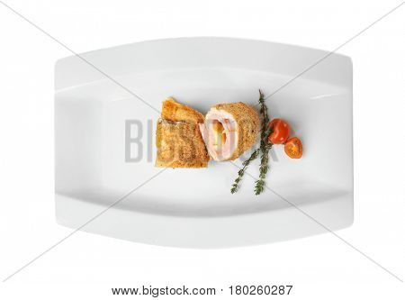 Plate with tasty chicken sliced roll on white background