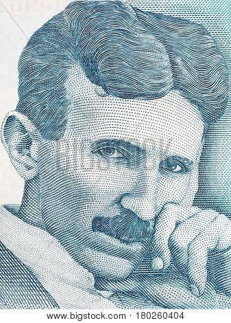 Nikola Tesla portrait from Serbian money - dinar