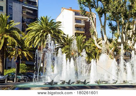 The Fountain in Front of Perpignan Tourist Office. France 14.07.2014