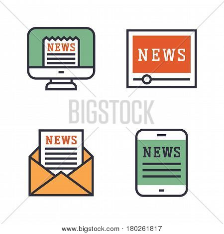Journalism media hot tv news outline black communication and chat information online red icons communicate set microphone global vector illustration. Press broadcasting paper web sign
