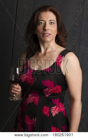 Forty Year Old Woman With Wine