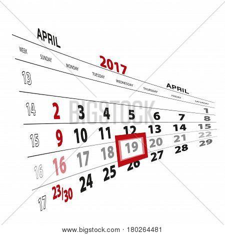 April 19, Highlighted On 2017 Calendar.
