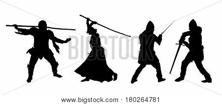 Set of silhouettes of fighters men and women in armor with a sword and staff - vector