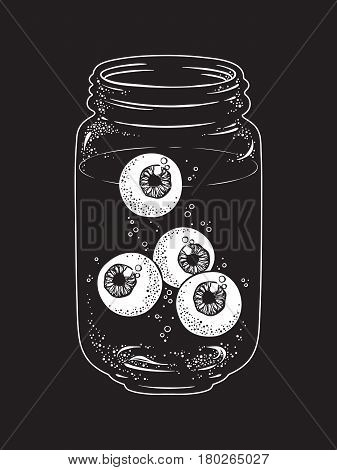 Human eyeballs in glass jar isolated. Sticker print or blackwork tattoo hand drawn vector illustration.