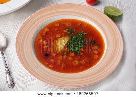 Soup saltwort restaurant plate top still life, lemon, sausages, red