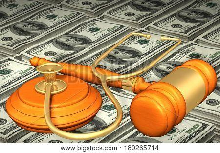 Stethoscope Legal Gavel Concept 3D Illustration