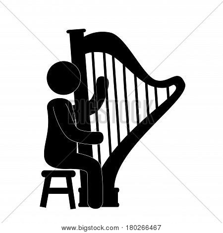 human figure playing harp instrument isolated icon vector illustration design