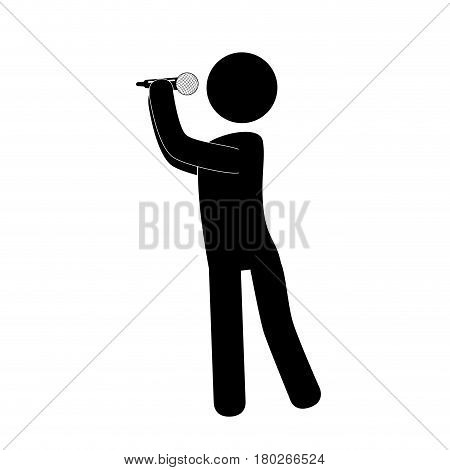 person sing with microphone vector illustration design