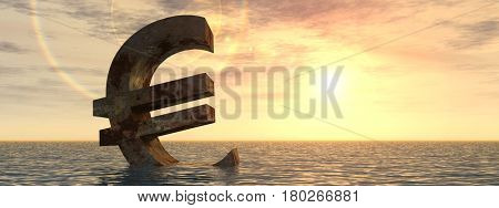 Conceptual 3D illustration currency euro sign or simbol sinking in water, sea or ocean sunset background concept for European crisis banner