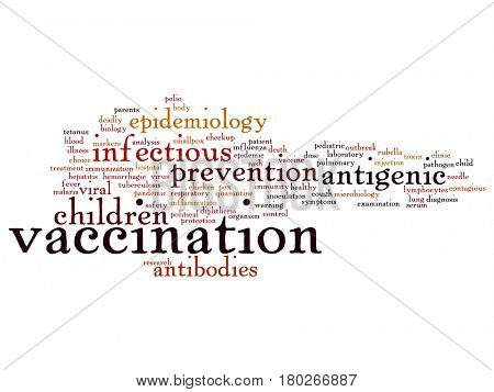 Concept or conceptual children vaccination or viral prevention abstract word cloud isolated on background