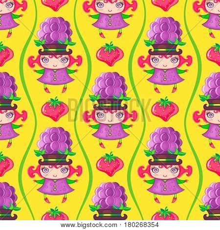 Seamless colorful pattern with cute little girl dressed fruity costume, wearing Blackberry hat and strawberry. Endless texture isolated on color background. Can be used as wallpaper or wrapping paper